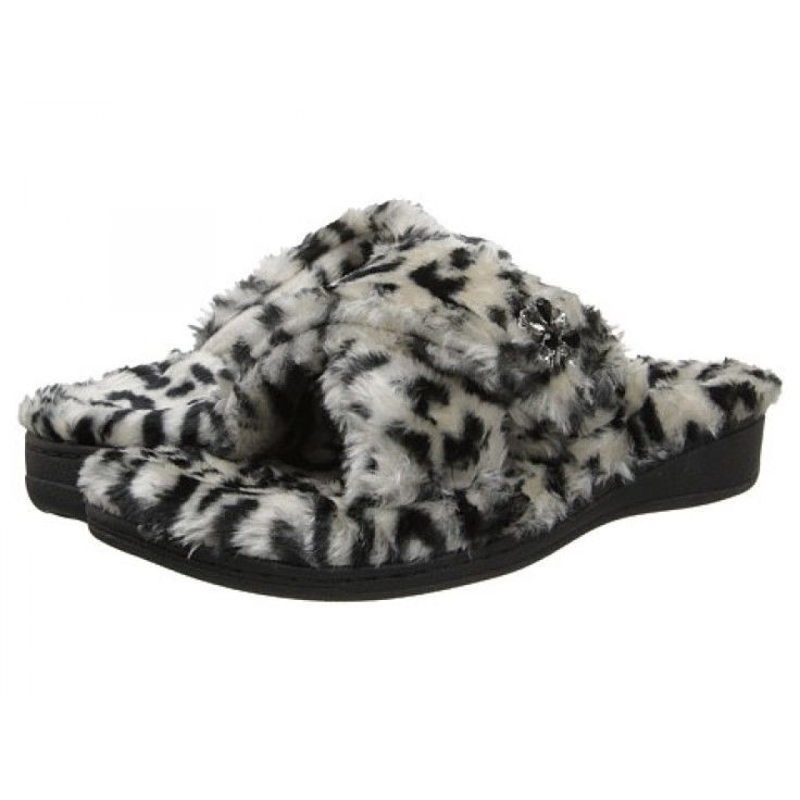 Vionic by Orthaheel Relax Luxe Black Animal PRint Slippers NWT Sz 9 #Vionic #RelaxLuxe