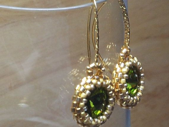 Swarovski crystal green drop earrings with gold by SandyYuDesign