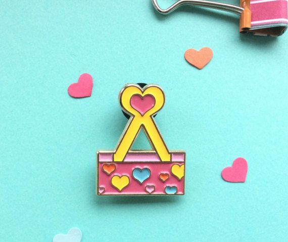 Binder clip soft enamel pin. Stationery Addict! Cute pink lapel pin by CherryMadeThis