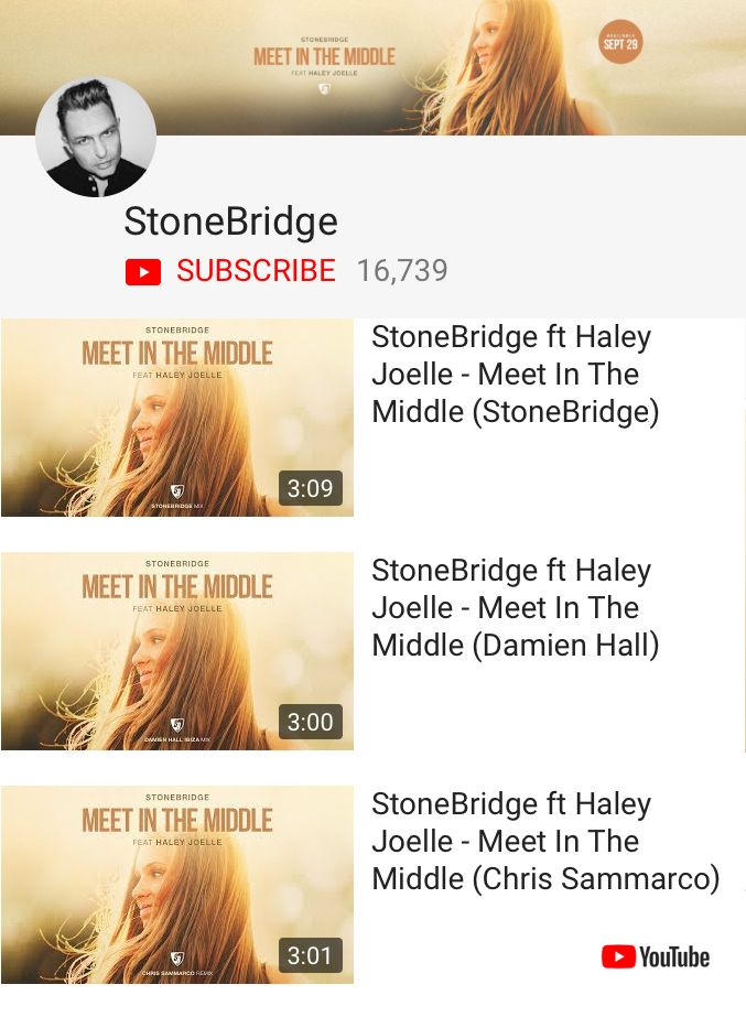 Check MEET IN THE MIDDLE on YouTube - all mixes are up on https://www.youtube.com/stonebridge #stonebridge #haylejoelle #MITM #damienhall #chrissammarco #stoneyboymusic #house