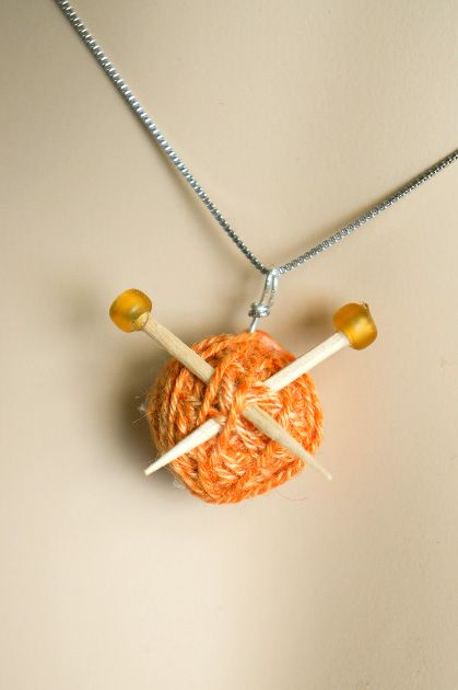 Knitter's Necklace - I thought this was cute! Might make a cute gift for a knitter?!