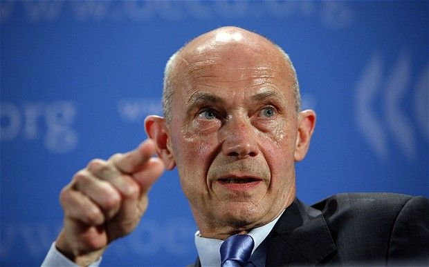 World Trade Organisation WTO director general, French Pascal Lamy adresses the media at the OCDE