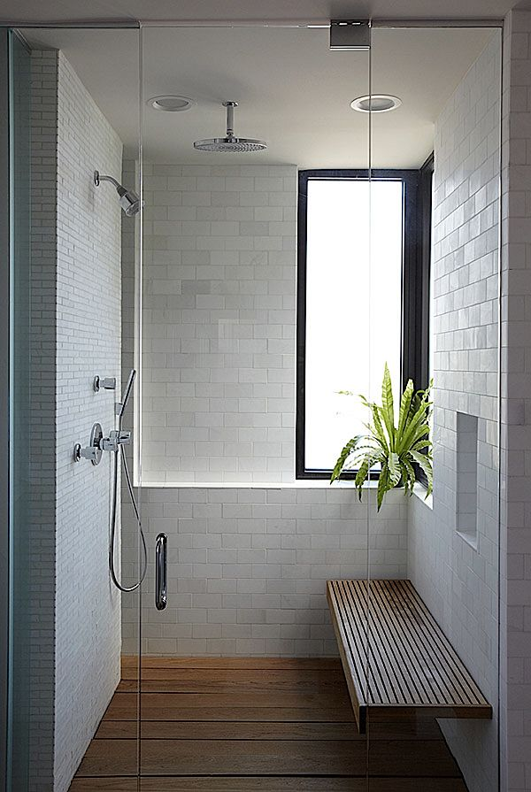 teak floor, small and large tiles, corner window with shelf, bench, clear glass doors