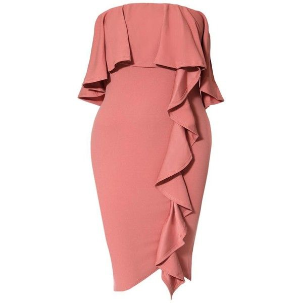 Plus Size Strapless Cascade Ruffle Dress, Dusty Pink ($30) ❤ liked on Polyvore featuring dresses, red midi dress, red cocktail dress, strapless cocktail dresses, plus size dresses and midi cocktail dress