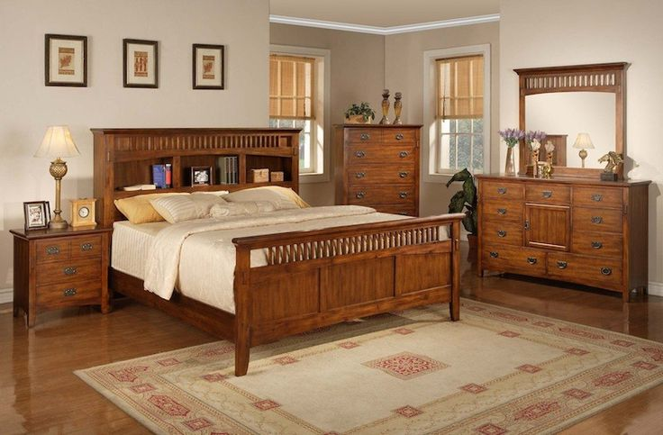 Elegant queen bookcase mission style bedroom set dream - Bedroom furniture bookcase headboard ...