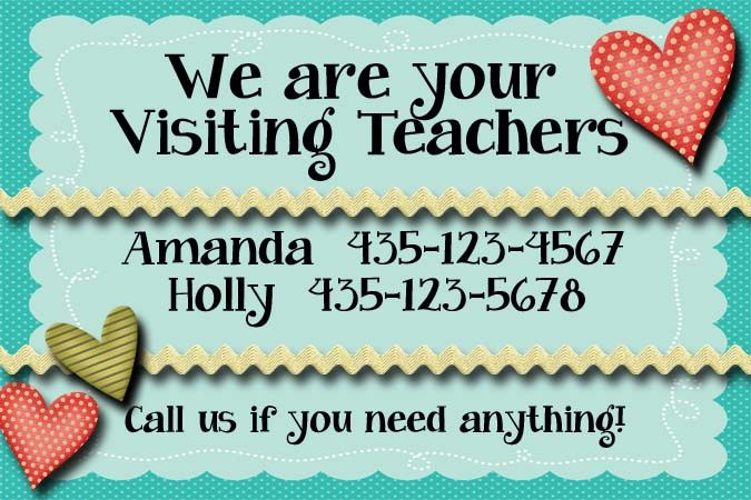 NEW January 2014 LDS Visiting Teaching Handout FREE Customized Calling Card