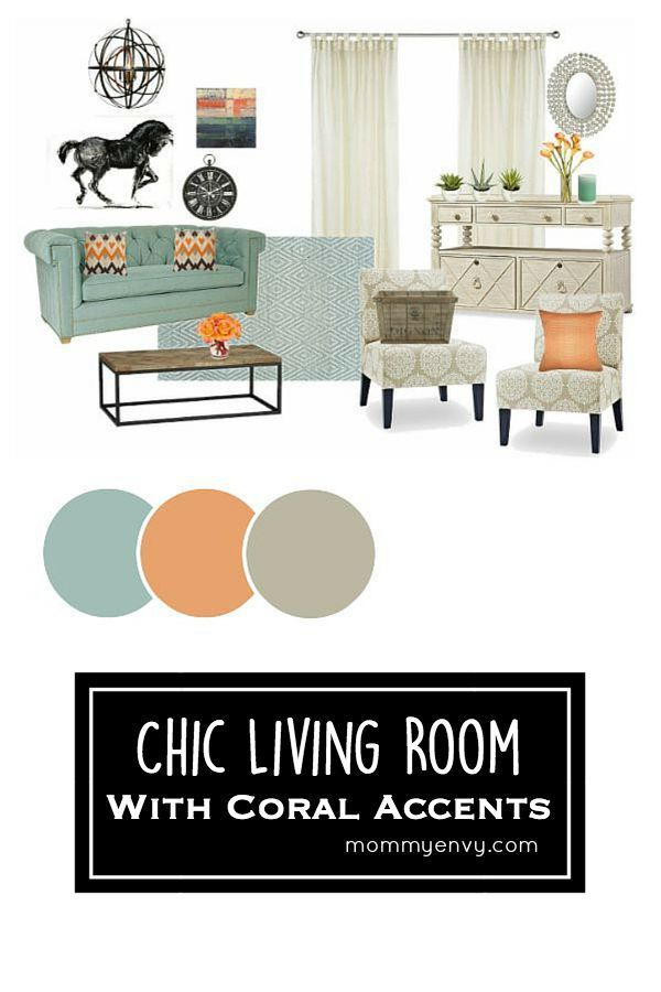 Chic Living Room with Coral Accents Mood Board | Turquoise and coral living room ideas | Home decor inspiration | www.mommyenvy.com