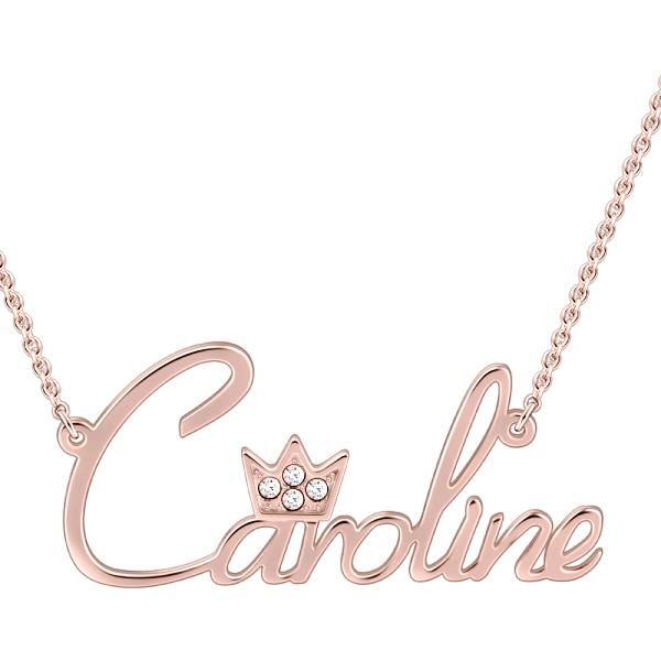 Caroline Style 10k 14k Gold Swarovski Inlay Name Necklace Adjustable Chain White Gold Yellow Gold Rose Gold Delicate Jewelry Necklace Name Necklace
