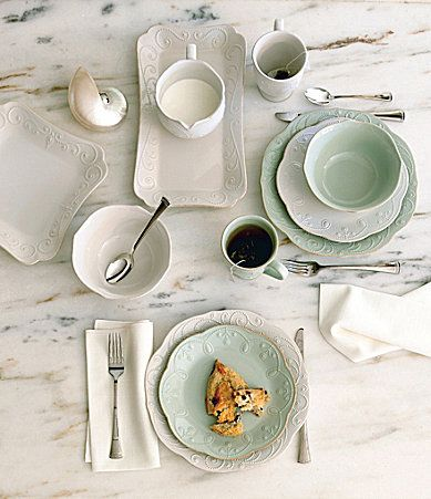 We love white dinnerware...but also love a bit of color mixed in...Lenox French Perle White dinnerware