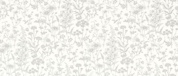 Lisette White Steel Floral Leaf Wallpaper at Laura Ashley