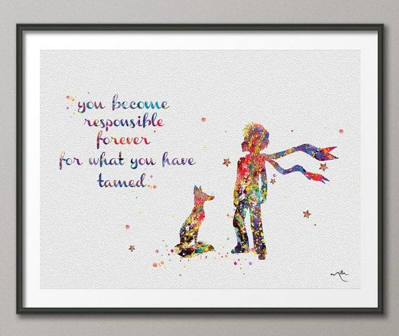 best the little prince images the little prince  the little prince le petit prince fox quote watercolor illustrations art print giclee wall decor