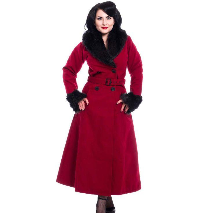 Wintermantel lang im Rockabilly Stil rot mit Kunstfell   VOODOOMANIACS