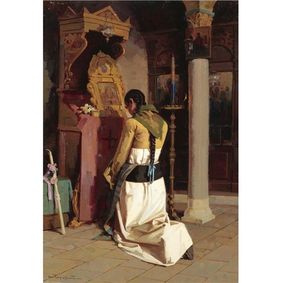 Apostolos Geralis, (Greek 1886-1983). Girl Praying, Made of oil on board Apostolos Geralis Girl Praying oil on board