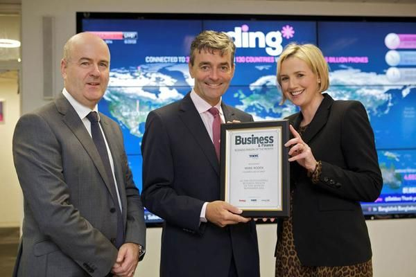 John Glenny & Ruth Curran presenting ding* CEO Mark Roden with the Business & Finance Business Person of the Month for October 2014