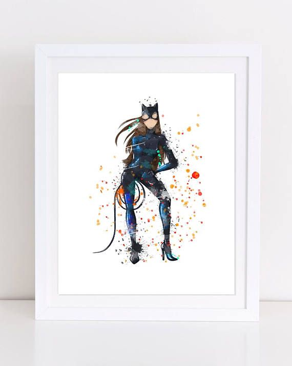 Catwoman Poster Comics Poster Batman Poster Watercolor