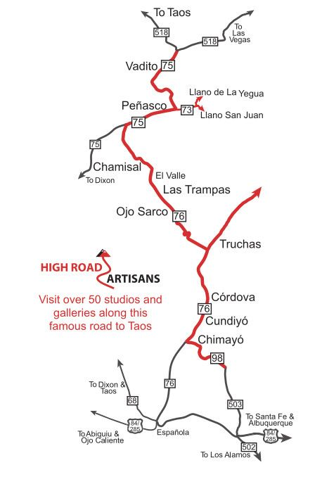 The High Road Art Tour follows the Scenic High Road to Taos.