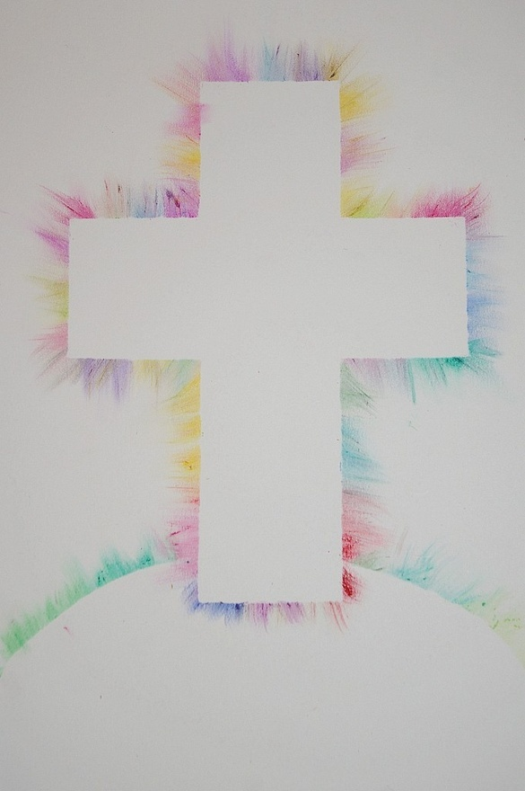 Would love to do this with bubble blow paint or toothbrush splatter paint, or just plain watercolors. Put contact paper down in shape of cross and hill on watercolor paper, let the kids paint away and then peel off contact paper.
