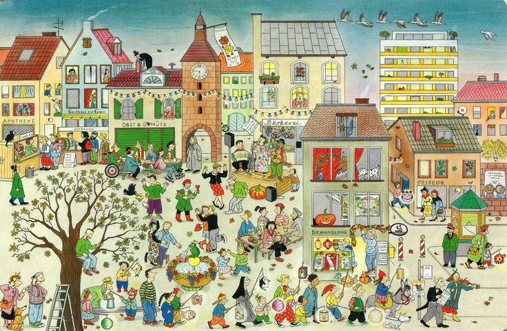 Wonderful illustration by Rotraut Susanne Berner - great for practising verbs, prepositions and vocabulary.