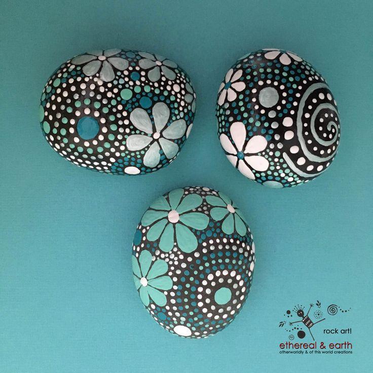 Painted Rocks - Mandala Design - Rock Art - blue luminescence collection Trio…