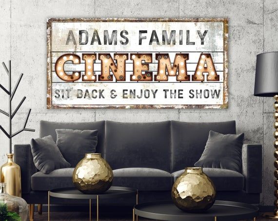 Family Cinema Sign Modern Industrial Wall Decor Personalized Etsy In 2021 Movie Room Decor Industrial Wall Decor Game Room Wall Art
