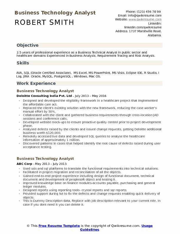 Jira Business Analyst Resume Lovely Business Technology Analyst Resume Samples Business Analyst Resume Job Resume Business Analyst