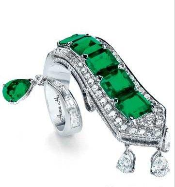 Anna Hu emerald and diamond ring
