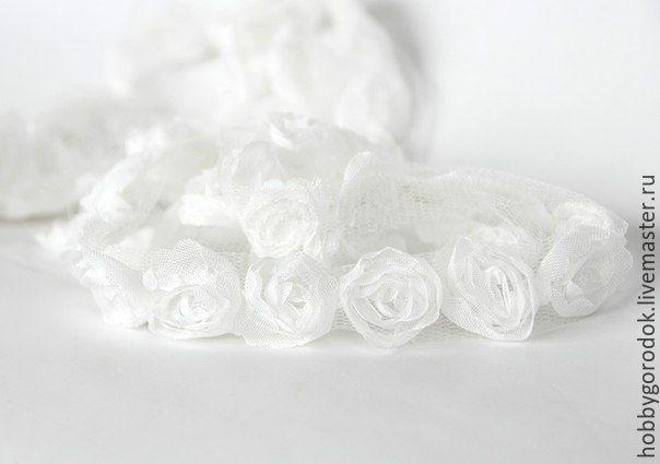 Купить Лента с розами - белый, розовый, бирюзовый, голубой, лента, лента декоративная, лента для скрапбукинга