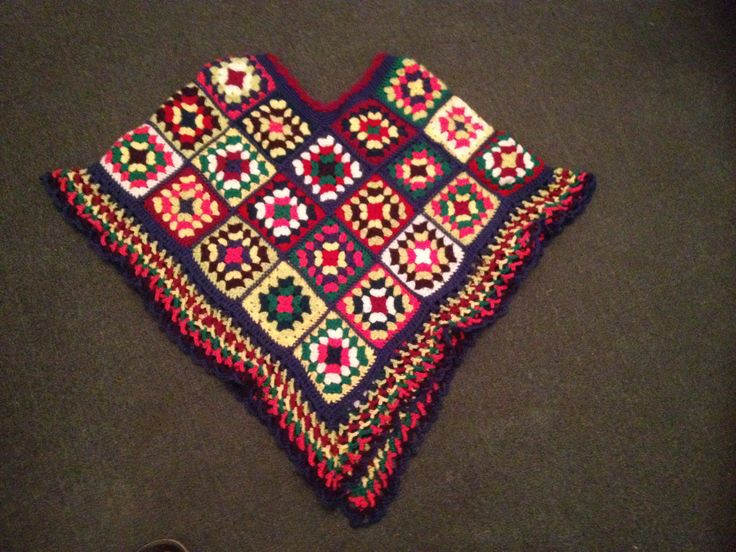 Finished poncho for my friend granny squares crocheted