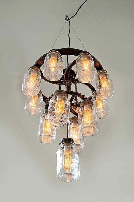Mason jar chandelier 3 tier industrial cast by OldeBrickLighting, $850.00