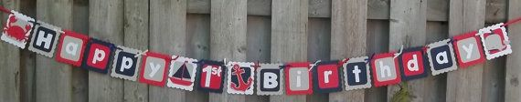 Nautical Theme Happy 1st Birthday Banner, First Birthday, Sailboats, Crabs, Whales, Anchors, Nautical Party Decor, Navy on Etsy, $19.80