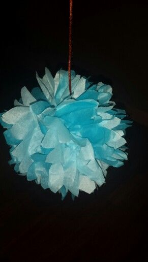 Blue pompom decoration azul party