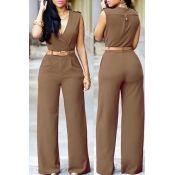 Stylish V Neck Tank Sleeveless Asymmetrical Khaki Polyester One-piece Jumpsuits(Without Belt)