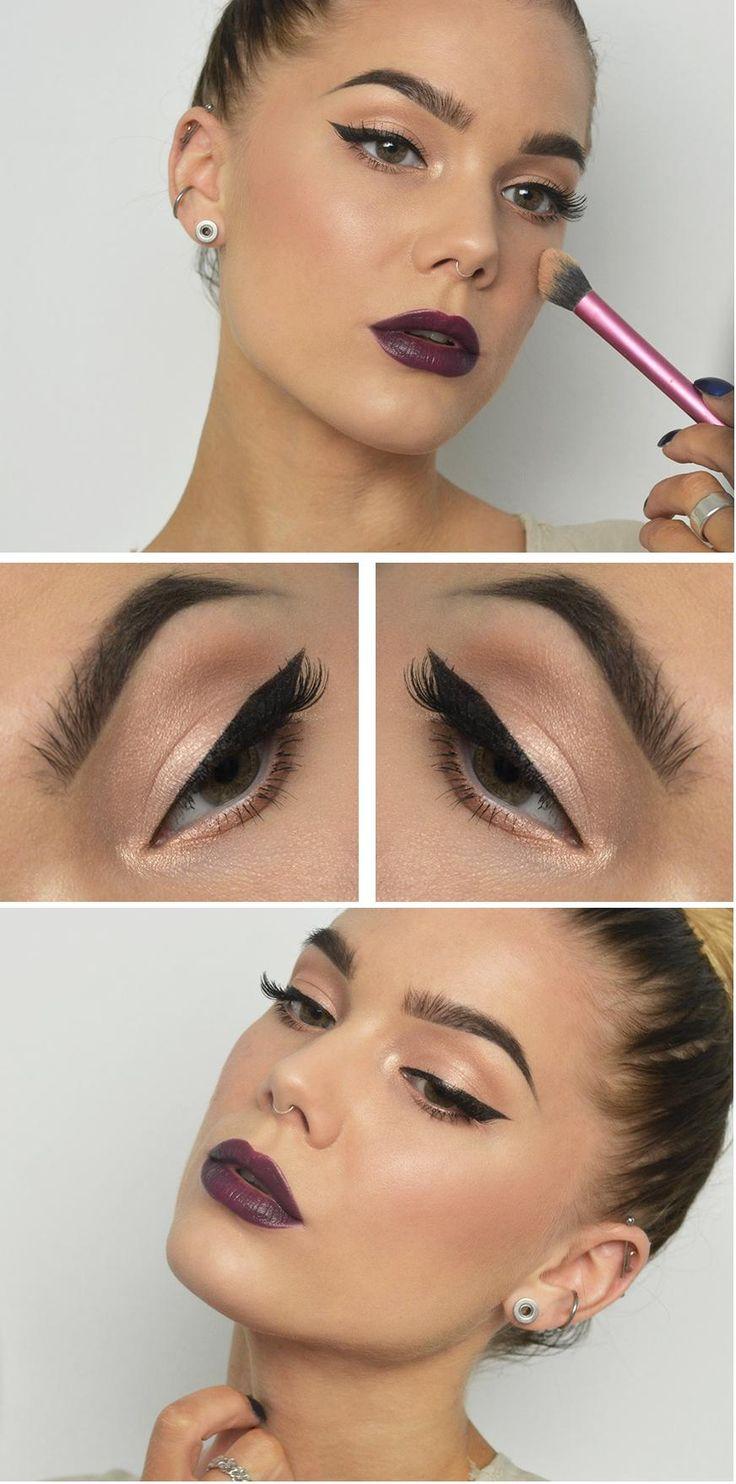classy champagne eyeshadow, purple lips