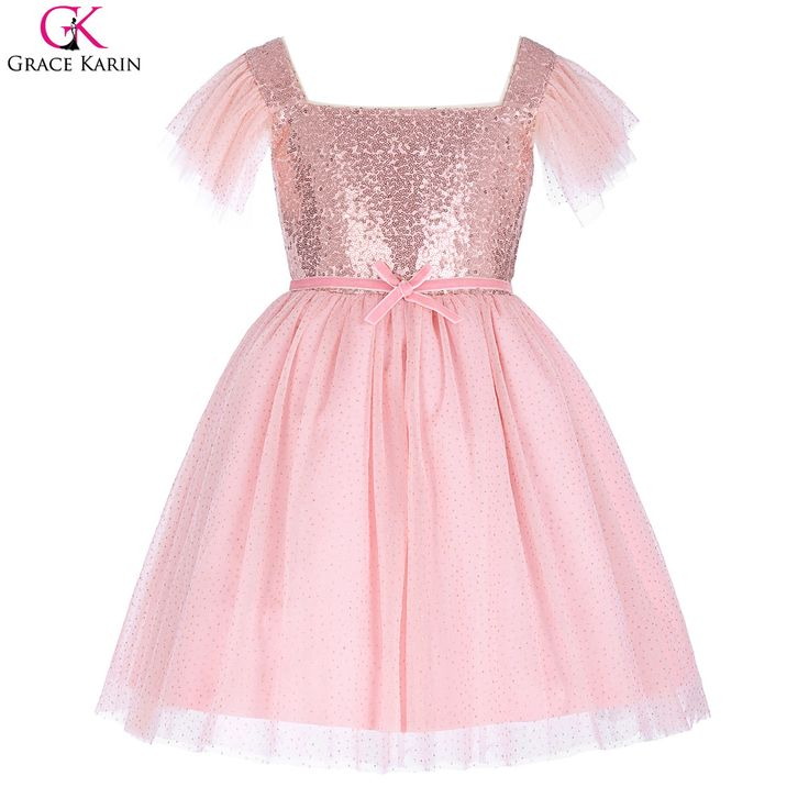 >> Click to Buy << Flower Children Kids Girls Princess Multi-Layers Square Neck Sequined Birthday Party Dress Pink Pageant Dresses For Little Girls #Affiliate