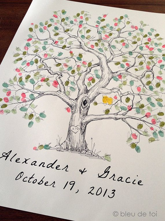 The 25 best wedding tree guest book ideas on pinterest wedding fingerprint tree wedding guest book alternative original hand drawn extra large elm design sciox Images