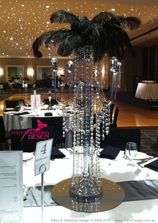 Feather Top Centrepiece By Party Wedding Design