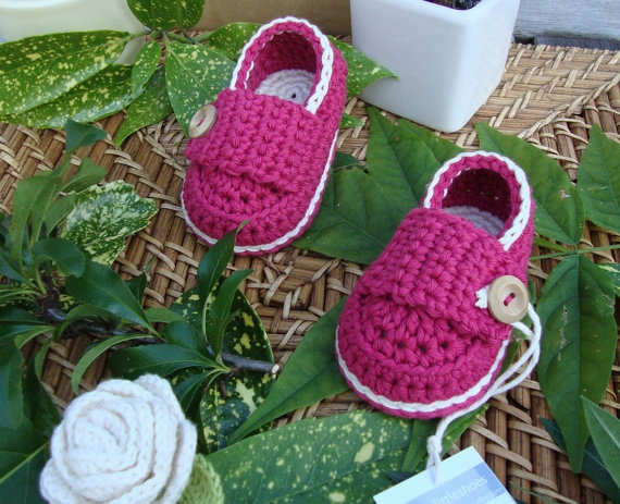Baby booties little loafers strawberry and by prettylittleshoes, $16.00
