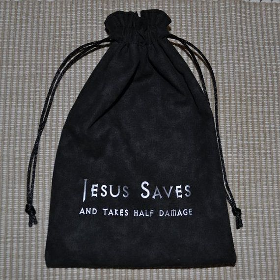 Dungeons and Dragons JESUS SAVES game dice bag by sparrowhawk9