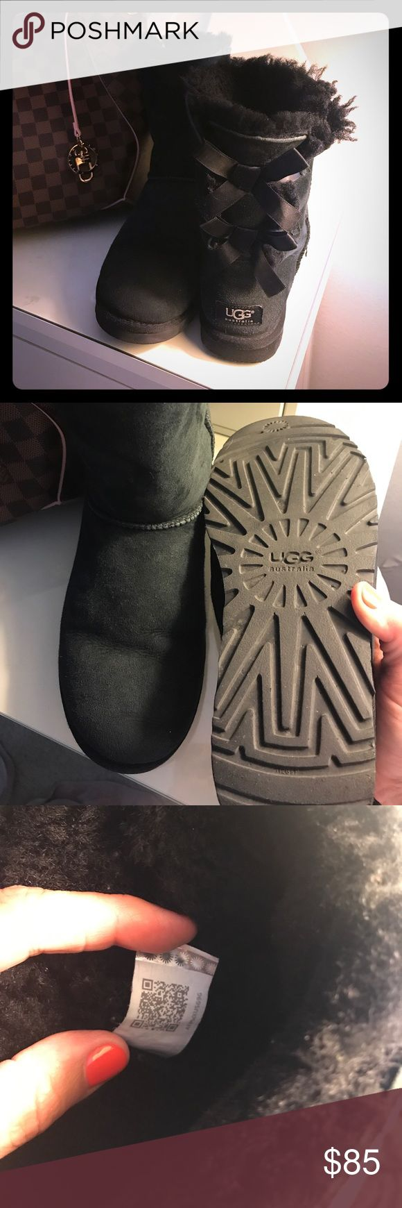 ❤️Authentic UGG Bailey Bow Black❤️ Excellent used condition!  No holes or tears!  No box, purchased at Nordstrom. UGG Shoes