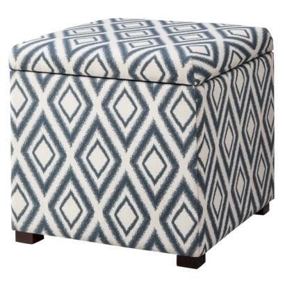 Threshold™ Rectangular Single Storage Ottoman   Blue Diamond Ikat