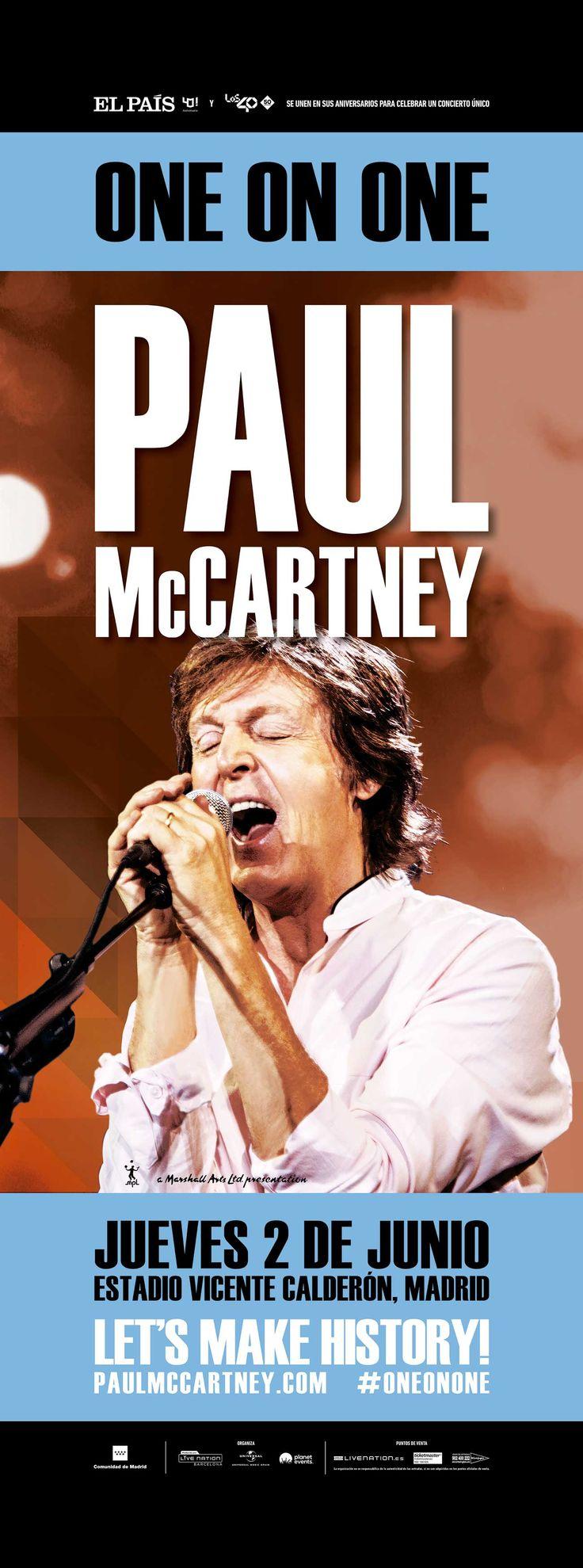 Campaña de publicidad exterior para la gira mundial One on One de Paul McCartney en Madrid, compuesta de quioscos de prensa y de autobús vinilado integral.