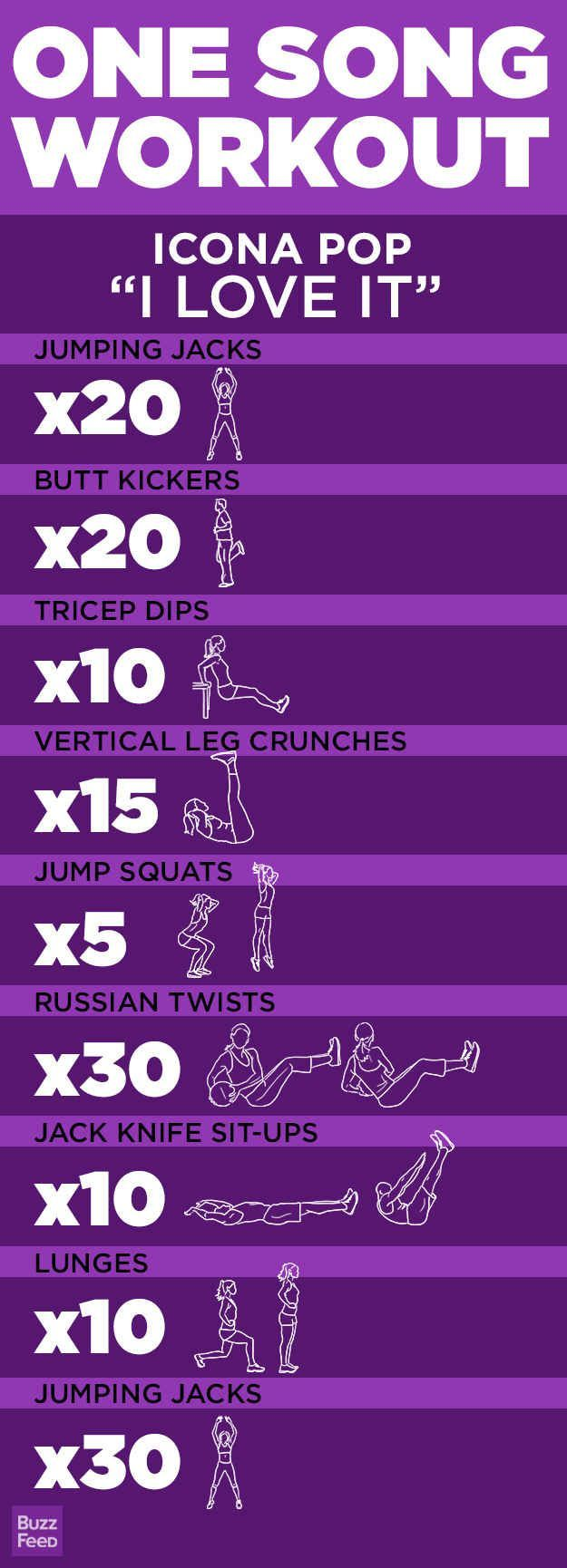5 One-Song Workouts, just want to try to see if the workout goes with the song, cause that'd be pretty neat!