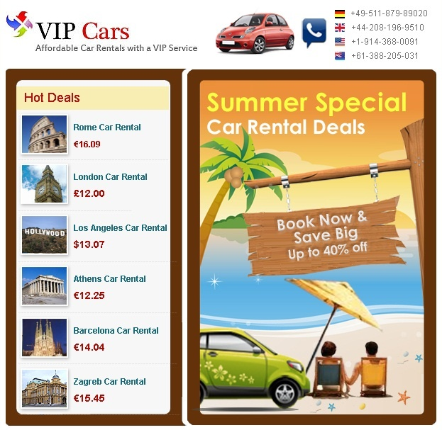 "Use the coupon code ""SHA7387"" while making a car rental reservation @ VIPCars.com to get an amazing discount!"