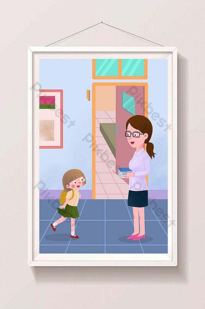 مدرسة الفصل الدراسي الجديد طالبة تحية المعلم الرسوم التوضيحية الرسوم المتحركة الرسم التوضيحي Psd تحميل مجاني Pikbest Cartoon Illustration Cartoon Drawings Teacher Cartoon