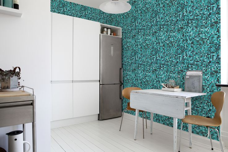 turquoise mosaic kitchen splashback - Google Search