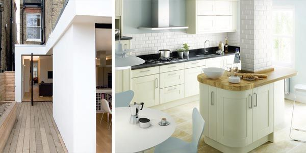 This contemporary extension designed by William Tozer is in contrast to the period house but in keeping with its design; A pillar is incorporated into an island unit in this kitchen extension designed by Second Nature