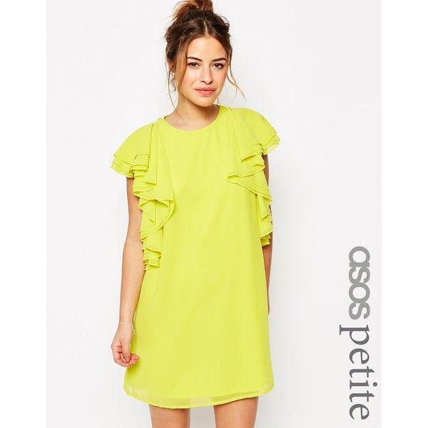 ASOS PETITE Ruffle Mini Shift Dress (559.115 VND) ❤ liked on Polyvore featuring dresses, petite, yellow, shift dresses, mini dress, zipper dress, yellow mini dress and chiffon shift dress
