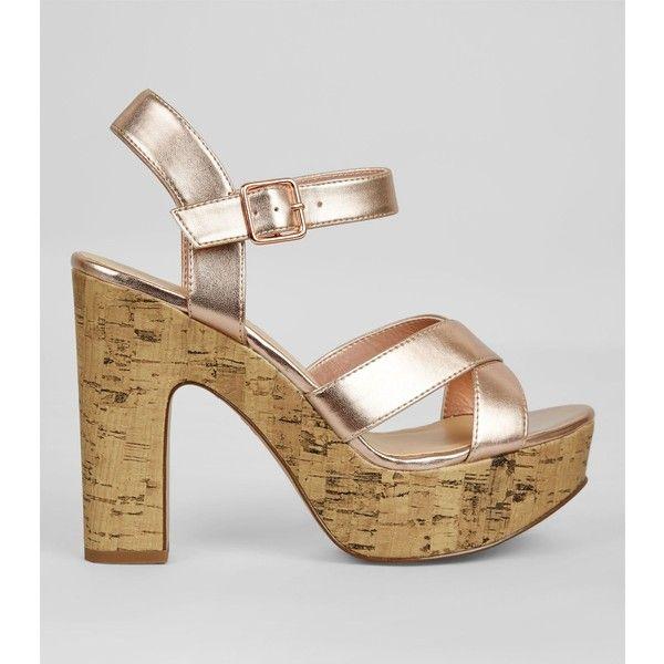New Look Wide Fit Rose Gold Cork Platform Heels ($38) ❤ liked on Polyvore