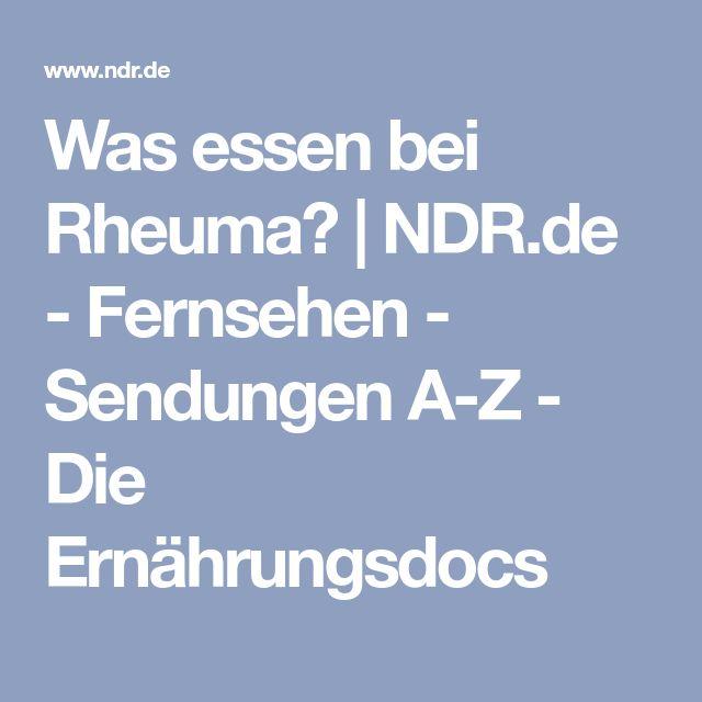 Was essen bei Rheuma? | NDR.de - Fernsehen - Sendungen A-Z - Die Ernährungsdocs