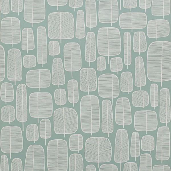 LITTLE TREES AQUA WALLPAPER. £59.95. By Miss Print.